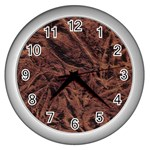 Leather Look & Skins Bark Brown Wall Clock (Silver)