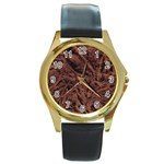 Leather Look & Skins Bark Brown Round Gold Metal Watch
