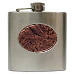 Leather Look & Skins Bark Brown Hip Flask (6 oz)