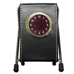 Leather Look & Skins  Capri Cranberry Pen Holder Desk Clock