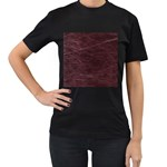 Leather Look & Skins  Capri Cranberry Women s Black T-Shirt (Two Sides)