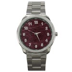 Leather Look & Skins  Capri Cranberry Sport Metal Watch