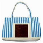 Leather Look & Skins  Capri Cranberry Striped Blue Tote Bag
