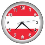 Austrian Flag Wall Clock (Silver)