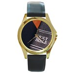 Holy Bible Christian Religious Round Gold Metal Watch